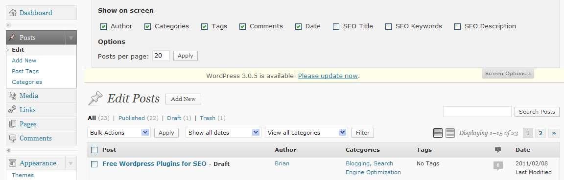 Hiding Posts columns in the WordPress admin