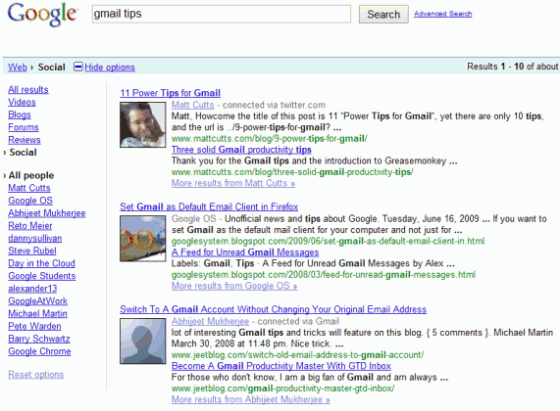 Google's Social Search results example from Google themselves.