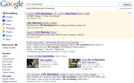 Google above the fold search engine results example 1.