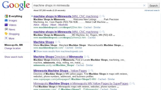Googe above the fold search results example 2.