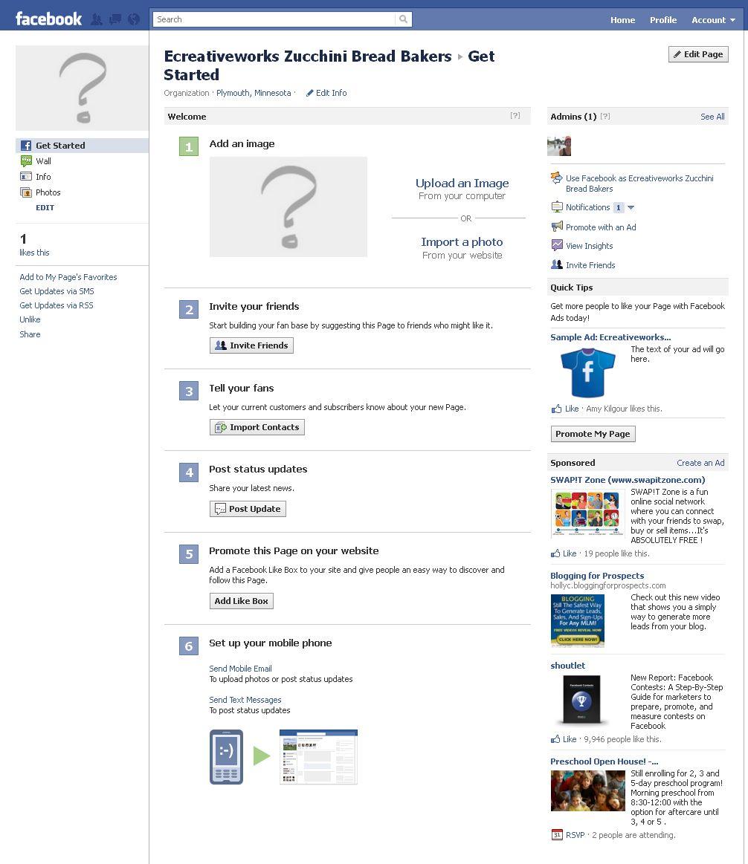 Facebook page set up