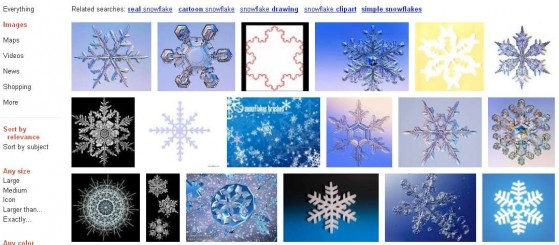 Snowflake image search results