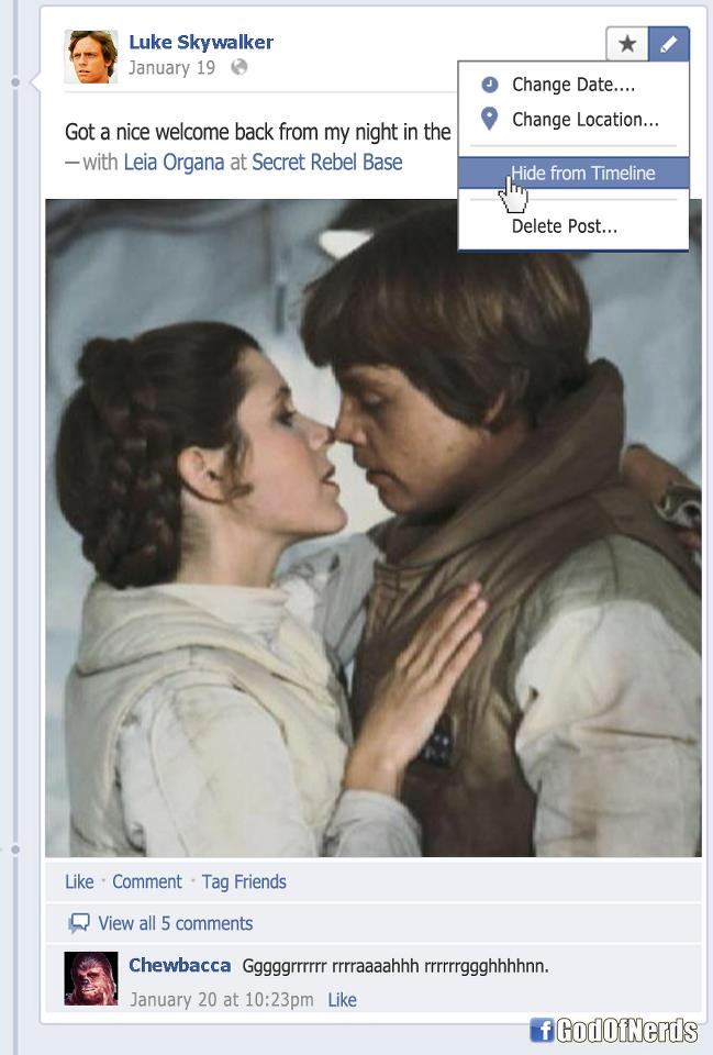 Embarrassing Facebook photo from Luke Skywalker