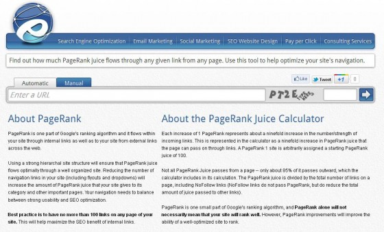 Internal link juice tool home page