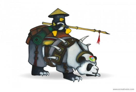 Penguin riding a panda into war